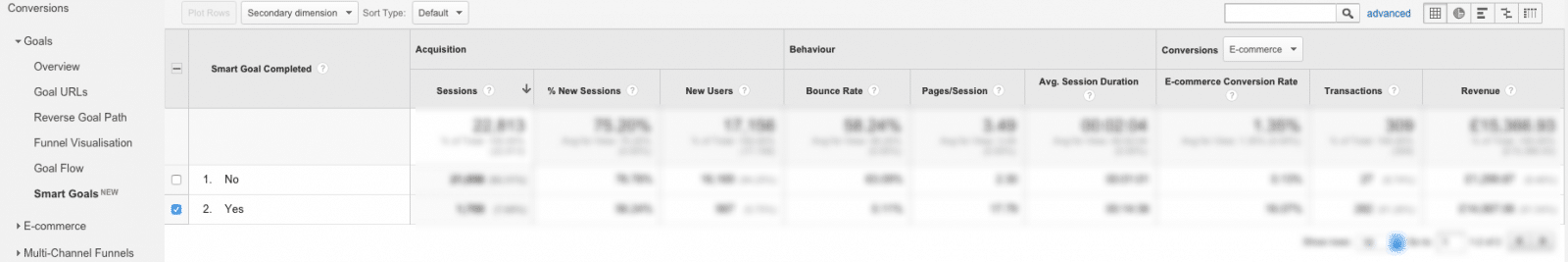 Smart Goals Google Analytics