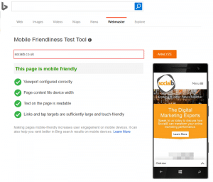 Bing Mobile Friendliness Test
