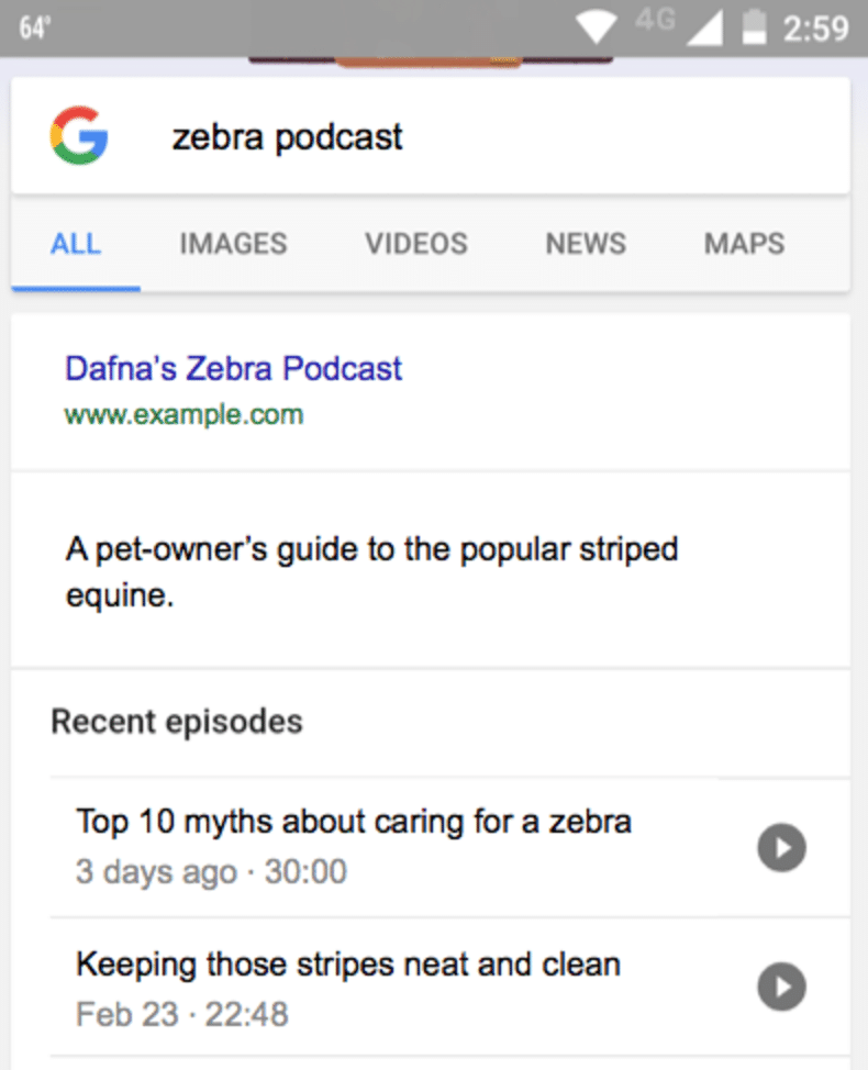 Google Podcast Result Example
