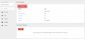 google tag manager configure variables