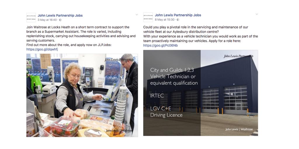 John Lewis Facebook Examples