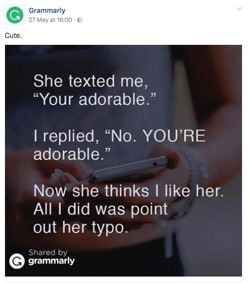 Grammarly social media post example on facebook