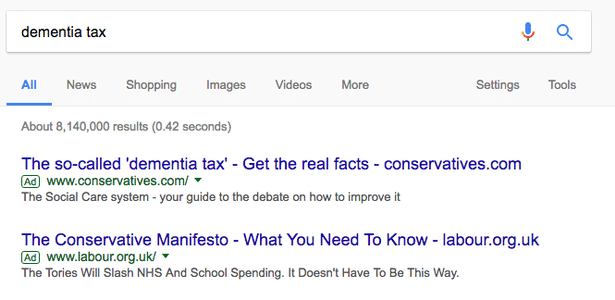 Google Adwords UK General Election