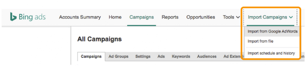 Bing Ads Import Google AdWords