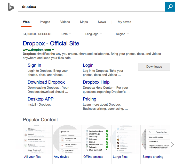 Bing Popular Content Snippet