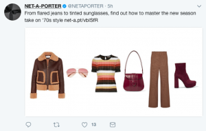 Net A Porter 70s fashion tweet