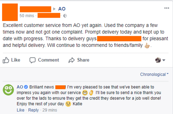 ao.com responds to praise on facebook