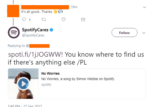 spotify responds on twitter