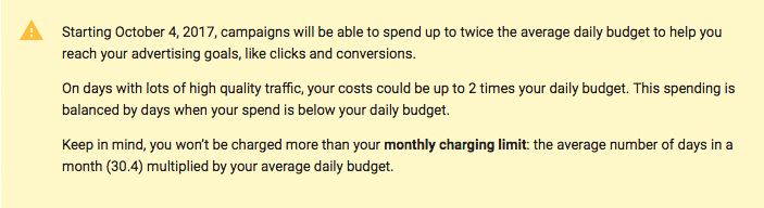 Google adwords budget increase announcement