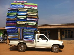 overloaded pick-up truck