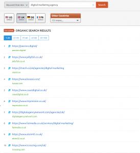 digital marketing agency SEMrush results