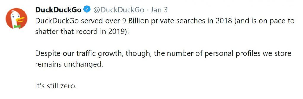 Duck Duck Go 2018 Traffic Tweet