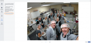 Facebook image edit screen showing ALT text and picture of the SocialB team making chocolate