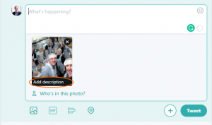 """Screen shot showing a tweet being composed with the words """"Add Description"""" on theuploaded image"""