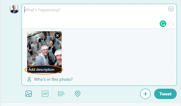 "Screen shot showing a tweet being composed with the words ""Add Description"" on theuploaded image"