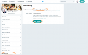 Twitter settings screenshot showing the Accessibility section from where ALT text functionality can be turned on