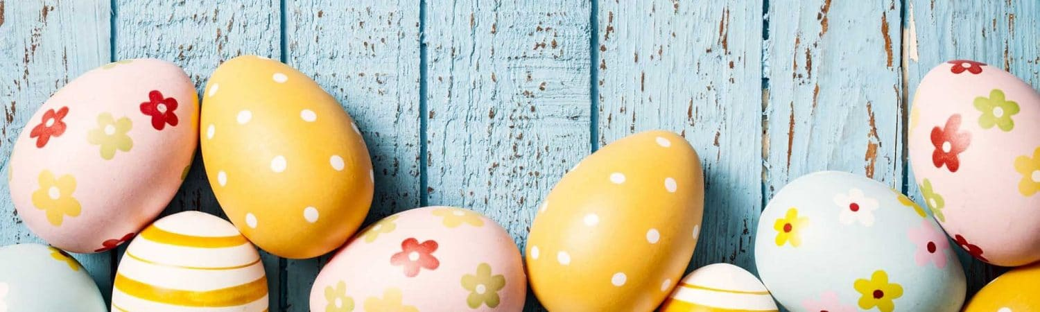 Easter eggs blue background