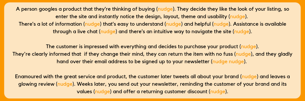 Nudges along the customer journey infographic