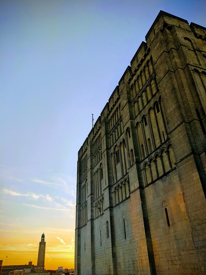 Norwich castle at sunset