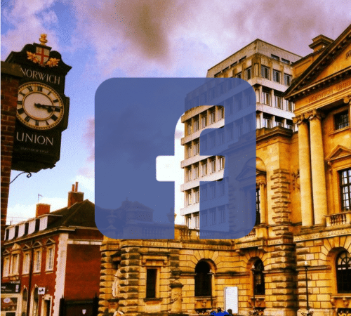 Facebook logo with Norwich buildings