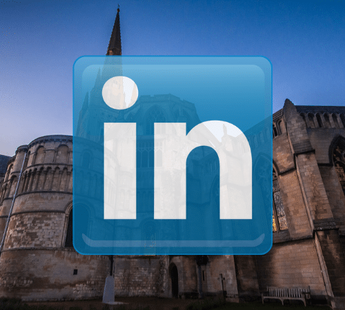 Linked in logo with Norwich catholic cathedral background