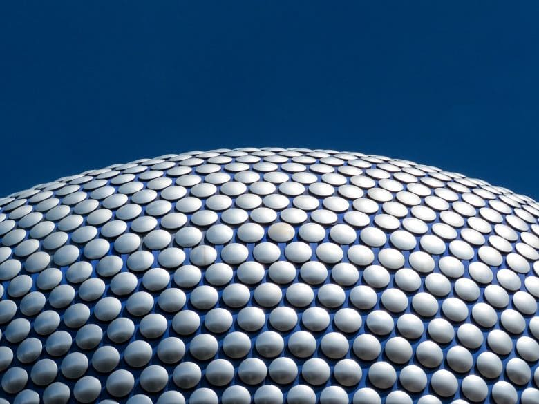 Birmingham selfridges with a blue sky