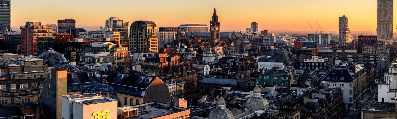 Manchester skyline at dusk