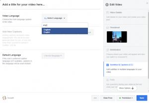 Facebook - select language and subtitles