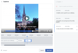 Facebook editing and adding captions