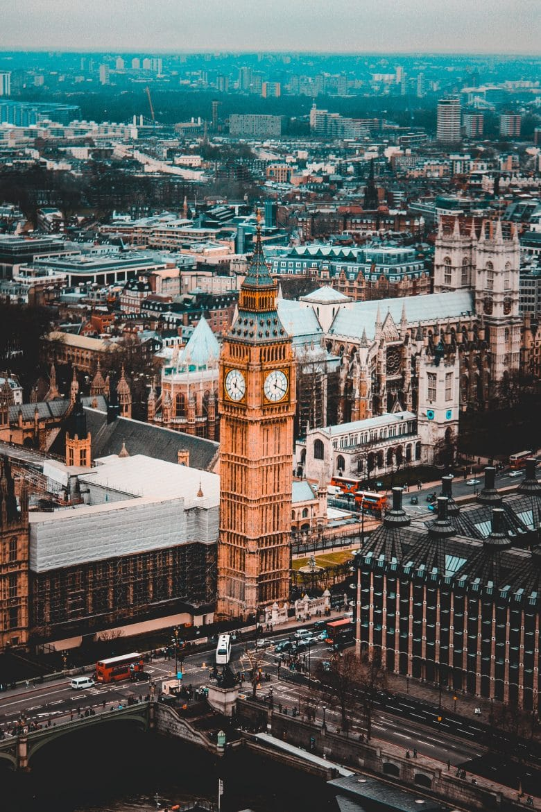 Aerial view of big ben with london skyline in background