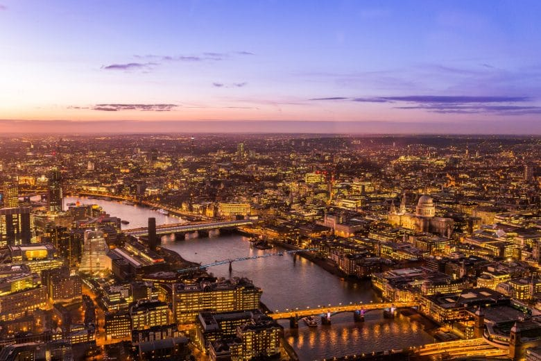 Aerial shot of London at dusk