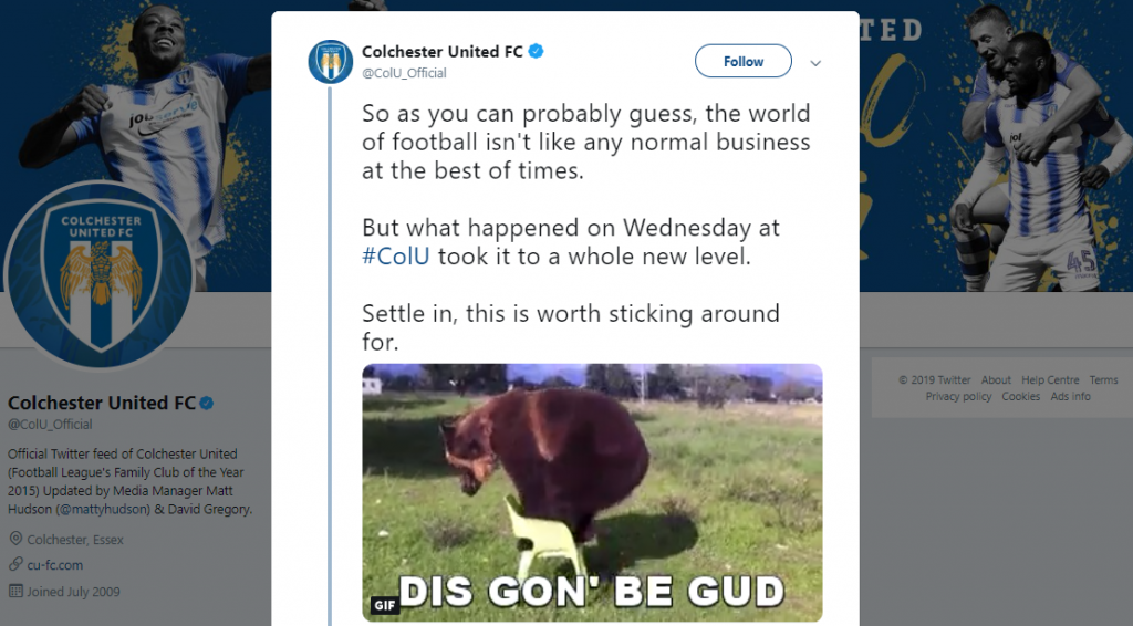 Colchester United storytelling on twitter