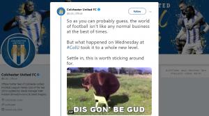 Colchester United storytelling on twitter