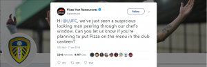 Pizza Hut tweet about Leeds spying on their Chef