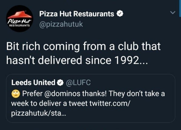 Pizza Hut v Leeds tweets