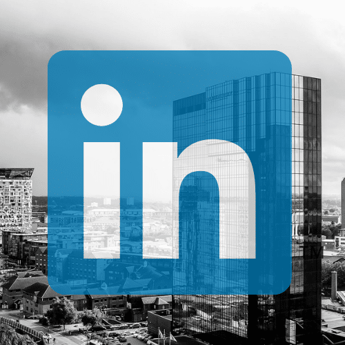 Birmingham skyline and linkedin logo