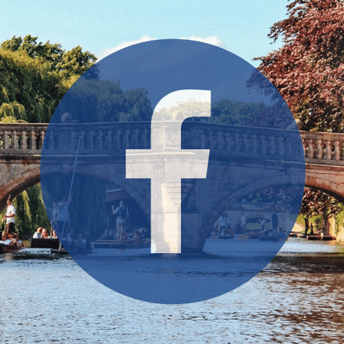 Cambridge bridge and facebook logo