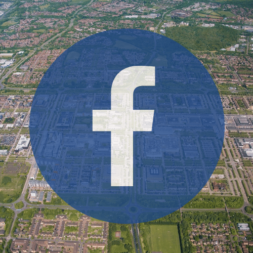 Aerial view of Milton Keynes and facebook logo