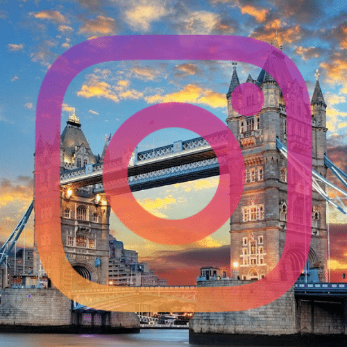 Tower bridge and instagram logo