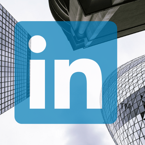 London skyline and linkedin logo