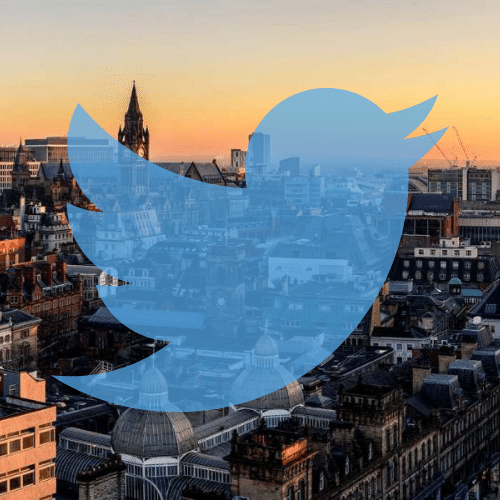 Manchester skyline and twitter logo