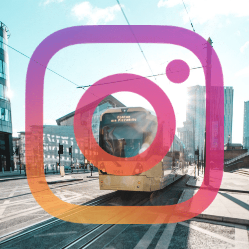 Manchester tram and instagram logo