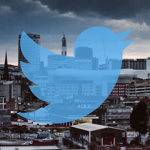 Birmingham skyline and twitter logo