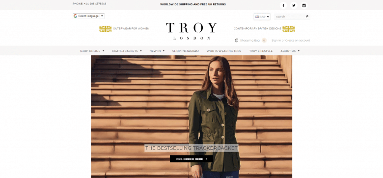 TROY London Website