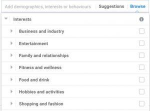Facebook Interest Targeting Selection