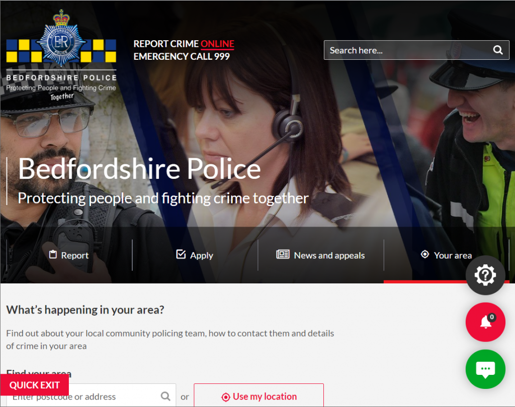 Bedfordshire Police Website