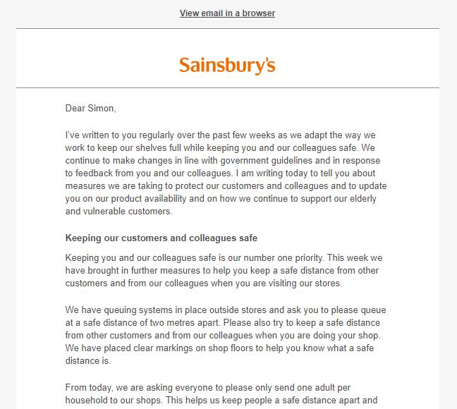 Sainsburys Covid-19 Letter