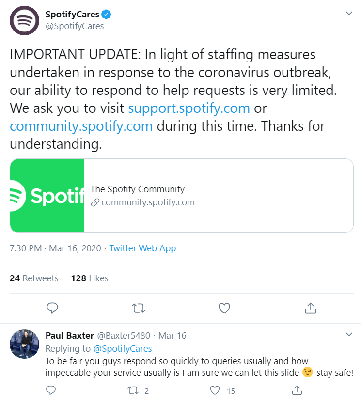Spotify Care Tweet