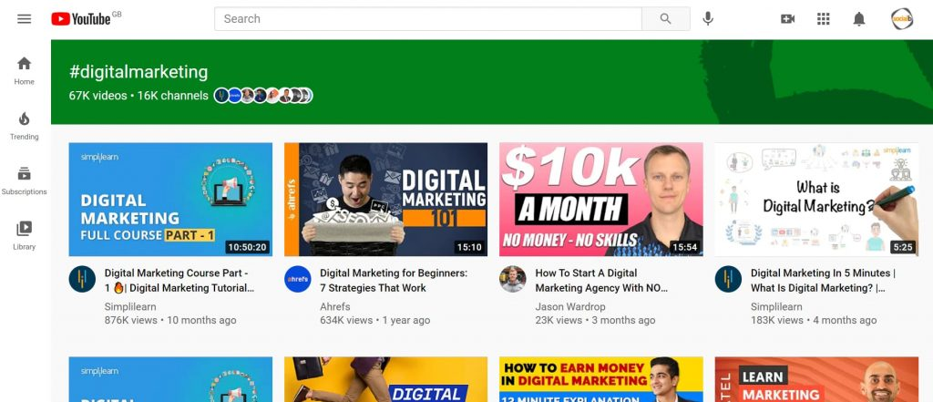 Youtube hashtag result page